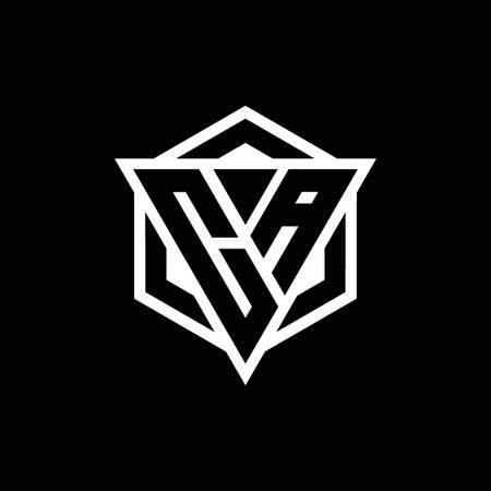 CA monogram with triangle and hexagon shape combination isolated on black and white colors 向量圖像