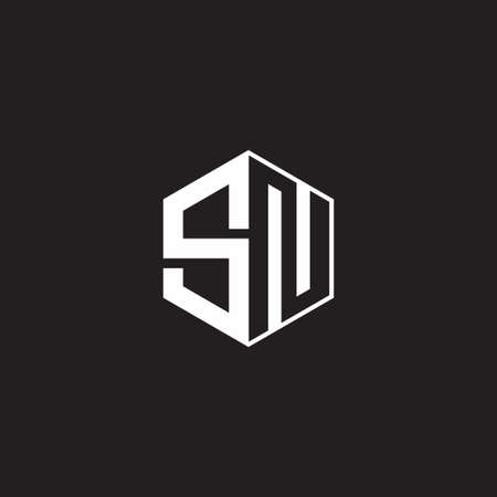 SN S N NS monogram hexagon with black background negative space style 向量圖像