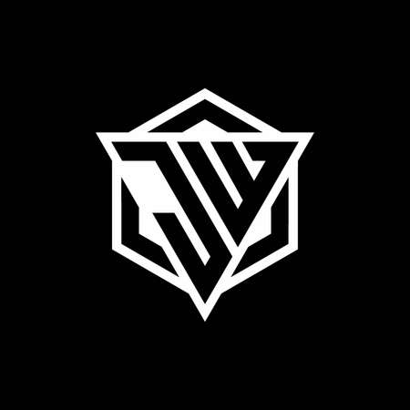 JW monogram with triangle and hexagon shape combination isolated on black and white colors