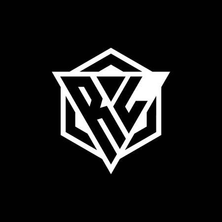RL monogram with triangle and hexagon shape combination isolated on black and white colors