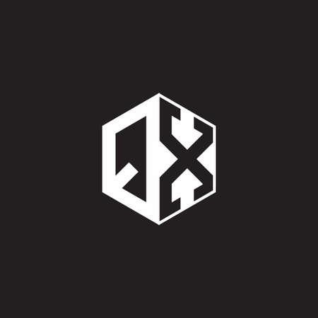 QX Q X XQ monogram hexagon with black background negative space style