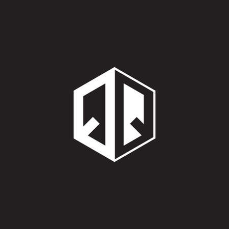 QQ Q monogram hexagon with black background negative space style 向量圖像