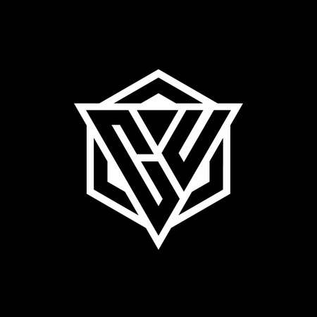CU monogram with triangle and hexagon shape combination isolated on black and white colors 向量圖像