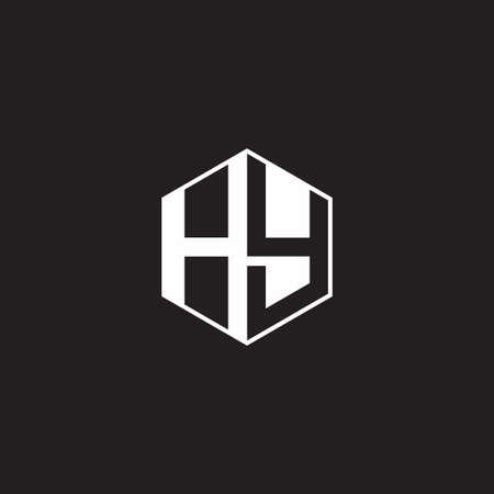HY H Y YH monogram hexagon with black background negative space style
