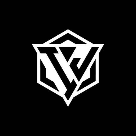 IJ monogram with triangle and hexagon shape combination isolated on black and white colors