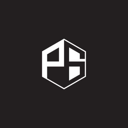 PS monogram hexagon with black background negative space style