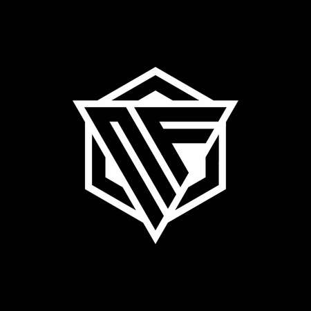 NF monogram with triangle and hexagon shape combination isolated on black and white colors