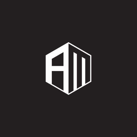 AM A M MA monogram hexagon with black background negative space style 向量圖像