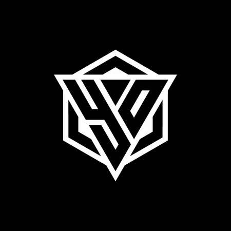 YO monogram with triangle and hexagon shape combination isolated on black and white colors