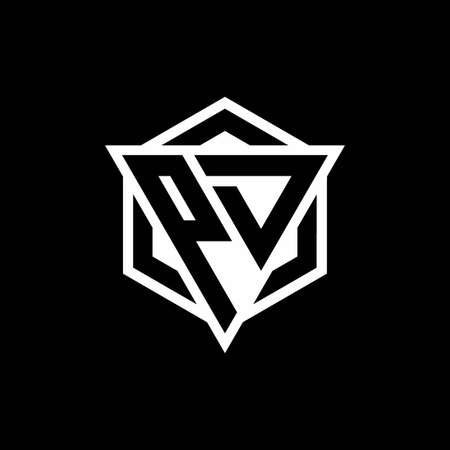 PD monogram with triangle and hexagon shape combination isolated on black and white colors