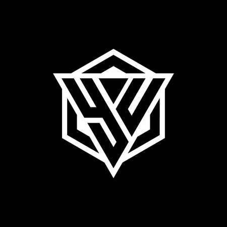 YU monogram with triangle and hexagon shape combination isolated on black and white colors
