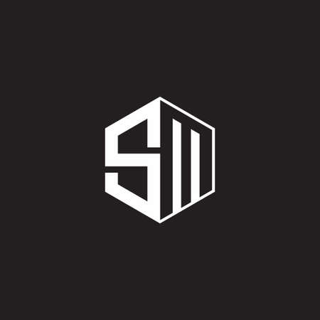 SM M S MS monogram hexagon with black background negative space style 向量圖像