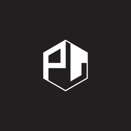 PL P L LP monogram with triangle and hexagon shape combination isolated on black and white colors