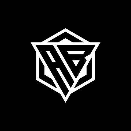 AB monogram with triangle and hexagon shape combination isolated on black and white colors
