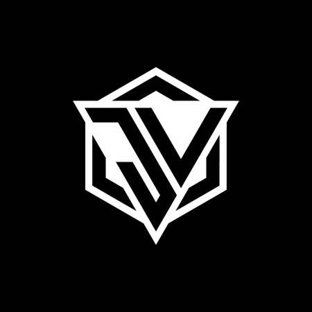 JV monogram with triangle and hexagon shape combination isolated on black and white colors