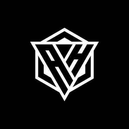 AH monogram with triangle and hexagon shape combination isolated on black and white colors 向量圖像