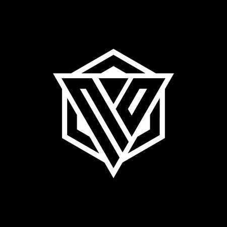 NO monogram with triangle and hexagon shape combination isolated on black and white colors