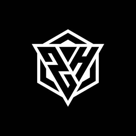 ZH monogram with triangle and hexagon shape combination isolated on black and white colors