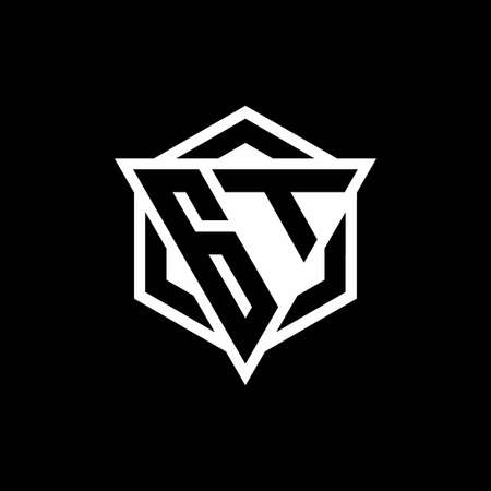 GT monogram with triangle and hexagon shape combination isolated on black and white colors