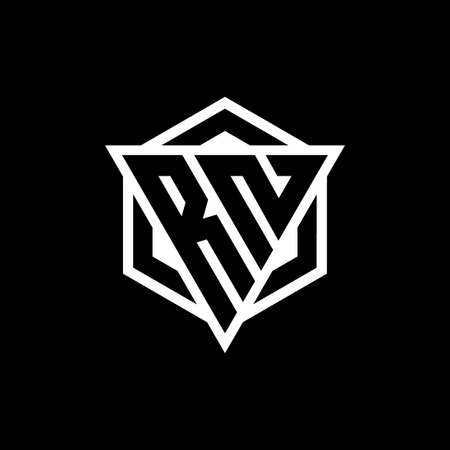 RN monogram with triangle and hexagon shape combination isolated on black and white colors