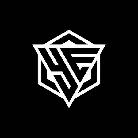 YE monogram with triangle and hexagon shape combination isolated on black and white colors