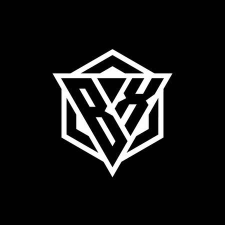 BX monogram with triangle and hexagon shape combination isolated on black and white colors