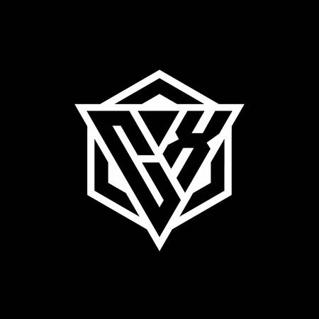 CX monogram with triangle and hexagon shape combination isolated on black and white colors