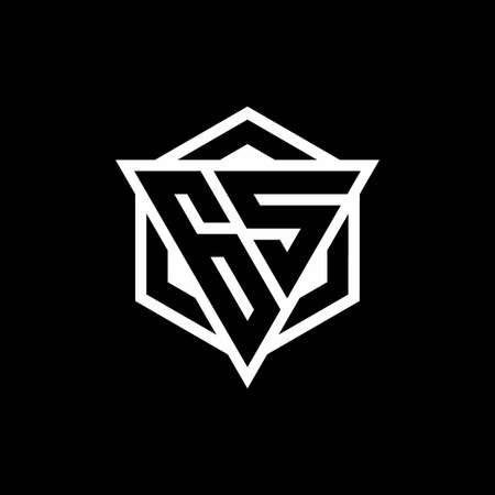 GS monogram with triangle and hexagon shape combination isolated on black and white colors