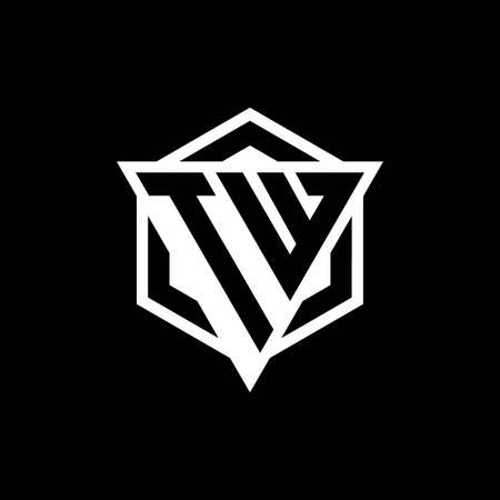 TW monogram with triangle and hexagon shape combination isolated on black and white colors