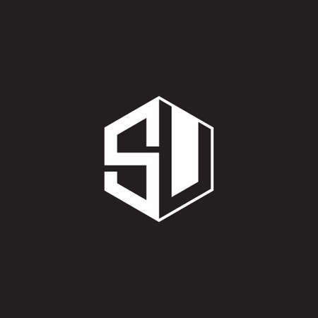 SU S U US monogram hexagon with black background negative space style