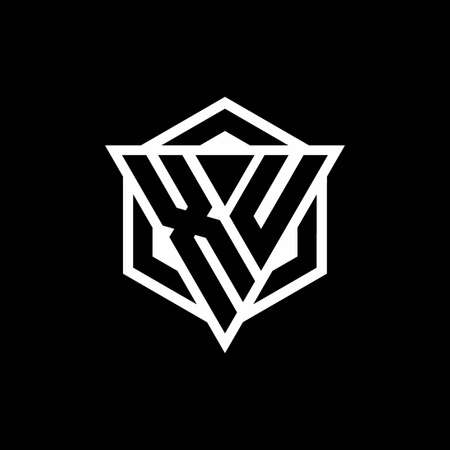 XU monogram with triangle and hexagon shape combination isolated on black and white colors