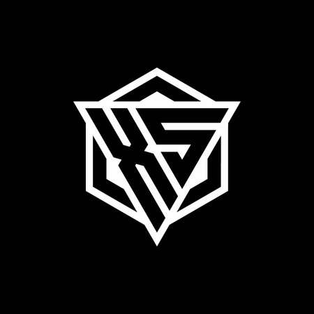 XS monogram with triangle and hexagon shape combination isolated on black and white colors