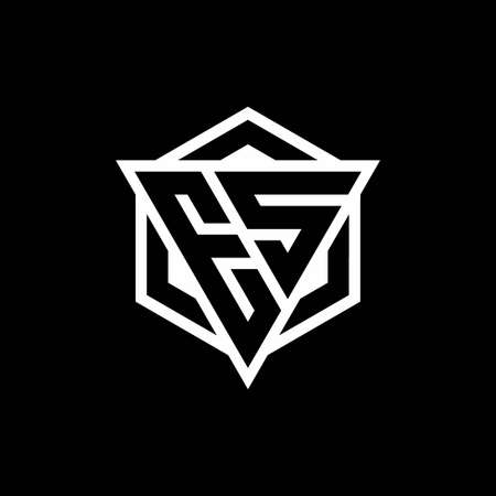 ES monogram with triangle and hexagon shape combination isolated on black and white colors