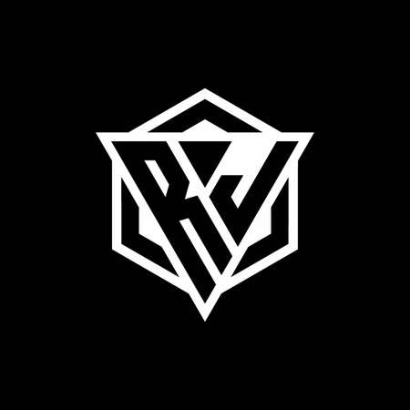RJ monogram with triangle and hexagon shape combination isolated on black and white colors Иллюстрация