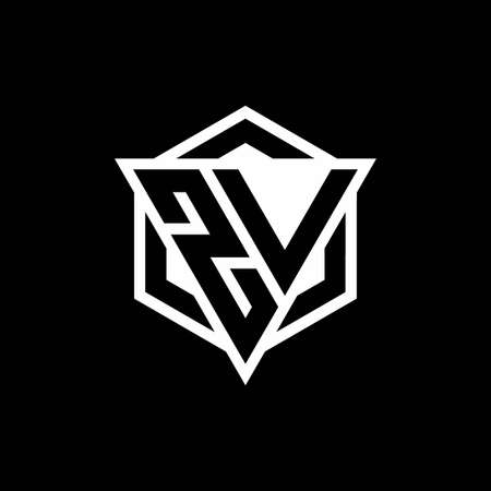 ZV monogram with triangle and hexagon shape combination isolated on black and white colors