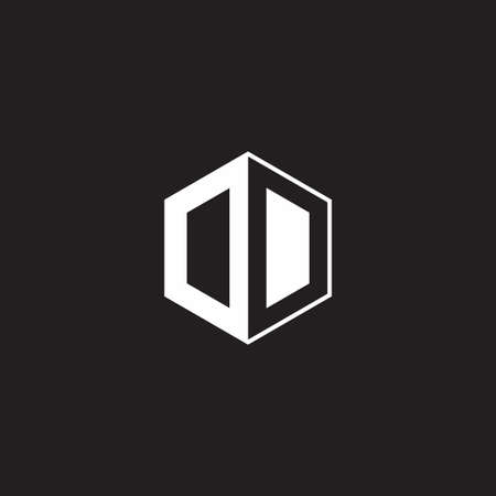 OO DD O D monogram hexagon with black background negative space style