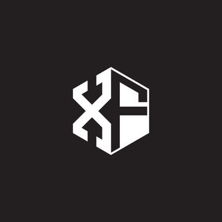 XF monogram hexagon with black background negative space style