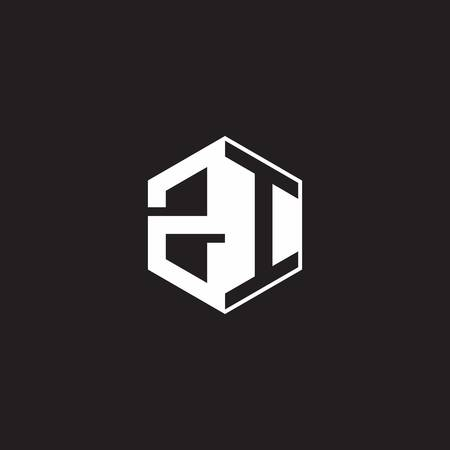 ZI Z I IZ monogram hexagon with black background negative space style