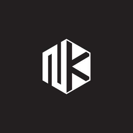 NK N K KN Logo monogram hexagon with black background negative space style