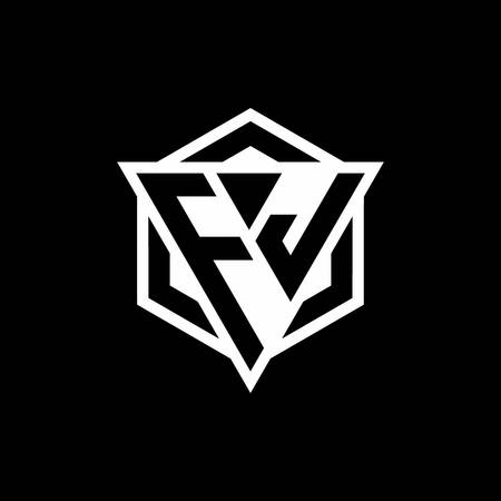 FJ logo monogram with triangle and hexagon shape combination isolated on back and white colors Logó