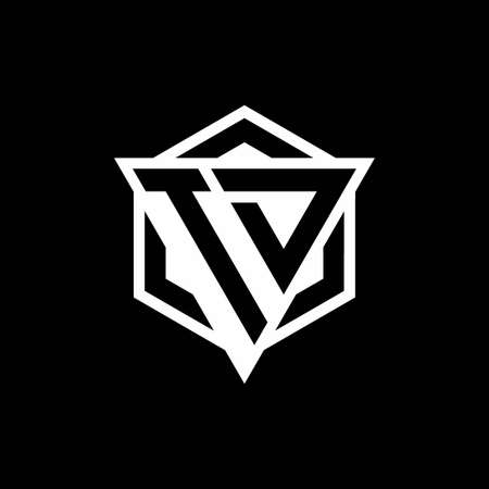 TD logo monogram with triangle and hexagon shape combination isolated on back and white colors Logó