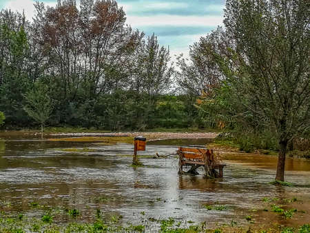 Park flooded by the flood of the Ana river after heavy rains