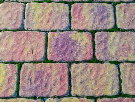 Rough pavement in pastel tones with moss on the boards