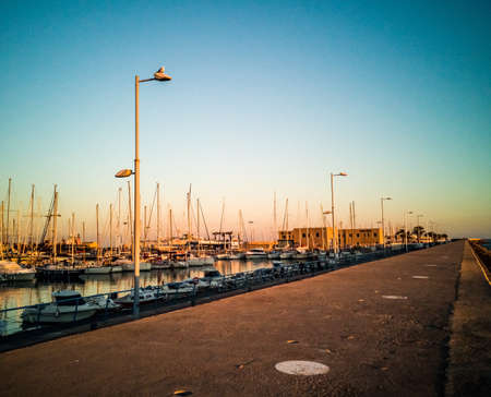 Harbor of Burriana at sunset with a seagull on a street lamp