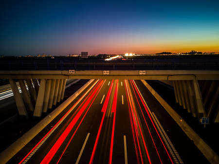 View of highway at sunset in long exposure