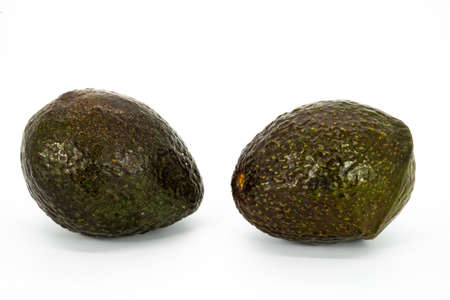 Group of avocados isolated on white background