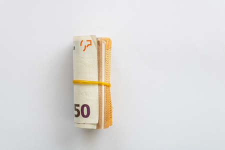50 euros banknotes on white background Imagens