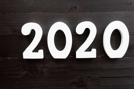 2020 number written in white on black background, new year concept Imagens