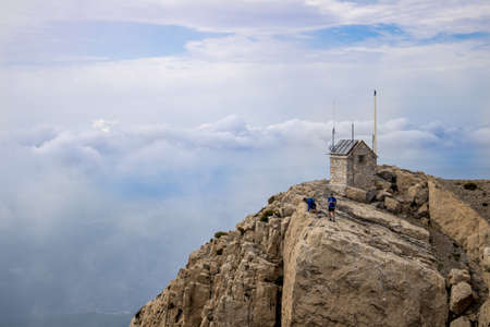 View of the top of Peñagolosa on a cloudy day