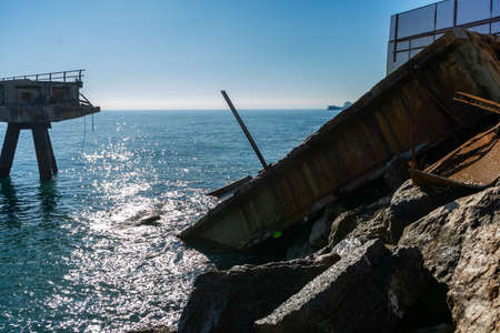View of a jetty with a broken part Stockfoto